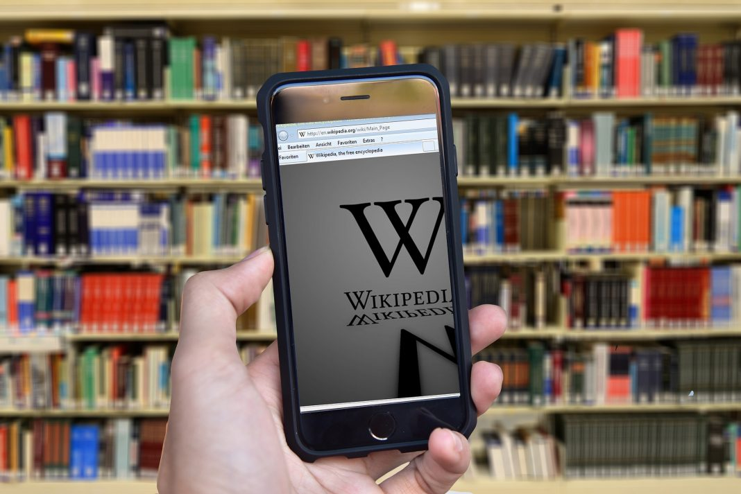 A phone browser viewing wikipedia