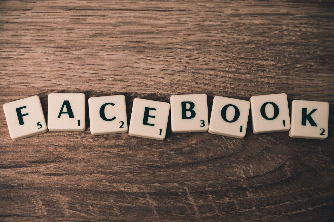 Facebook written down with scrabble blocks