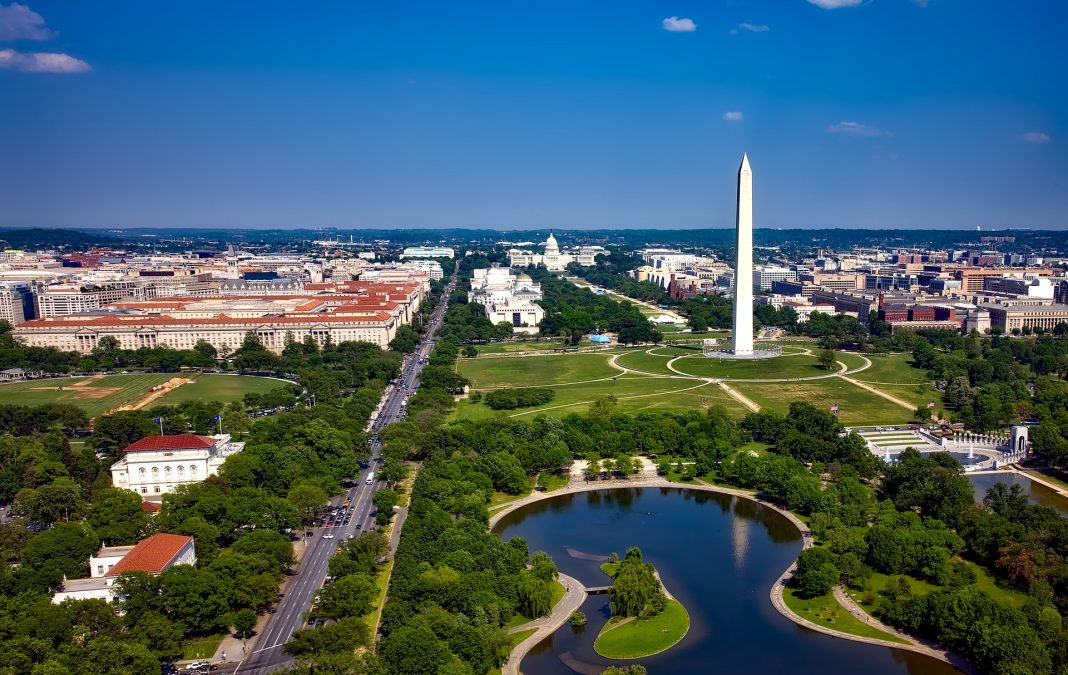 A sky view of Washington DC