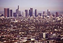 Los Angeles skyline in sunny weather