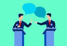 An illustration of a debate between two men