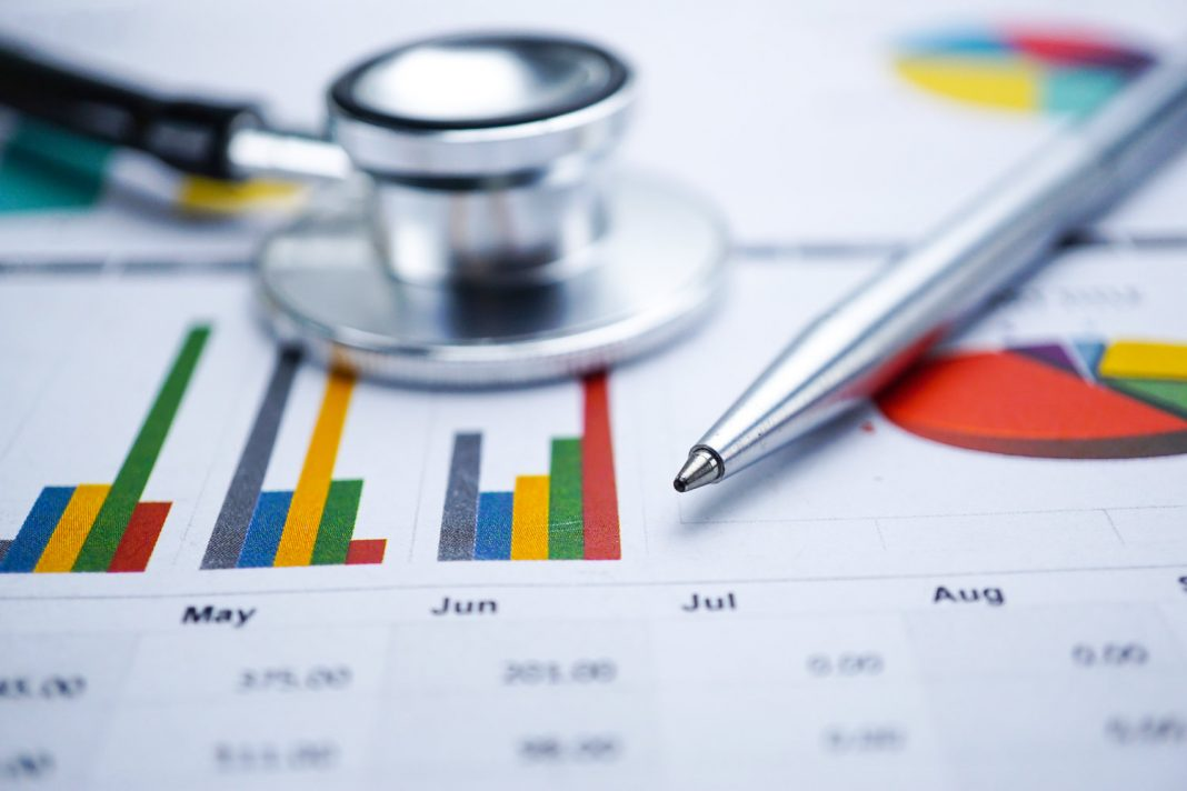 A stethoscope on top of profit charts