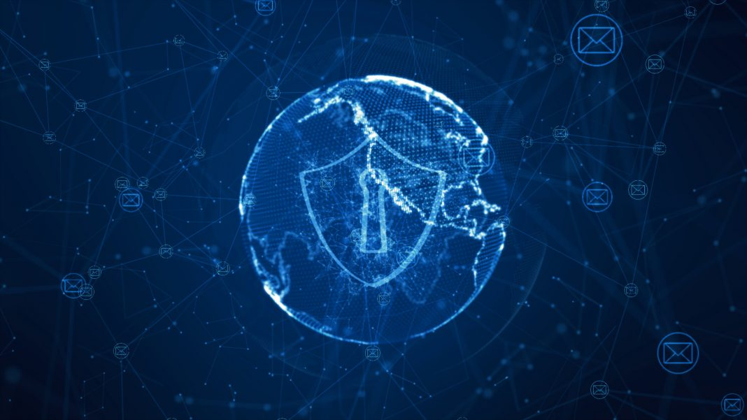 A shield icon in the middle of a globe with multiple nodes representing a network.