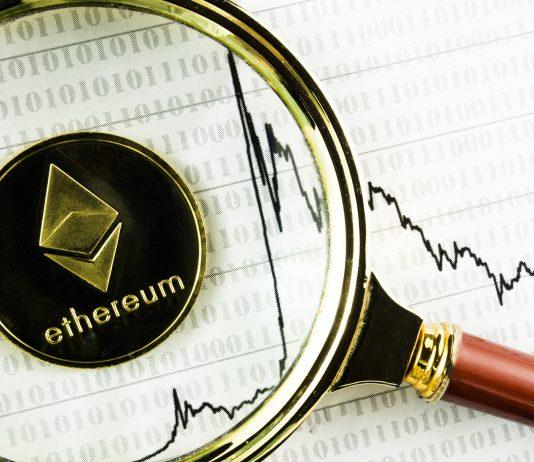 An ethereum coin next to a bearish chart