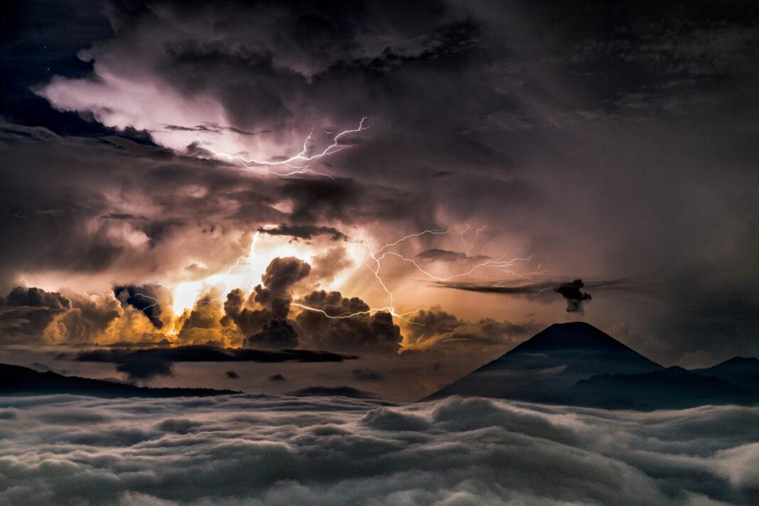 Landscape mountain Bromo volcano lightning and thunder