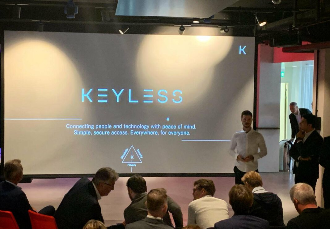 Biometric cybersecurity startup Keyless present their product at a conference