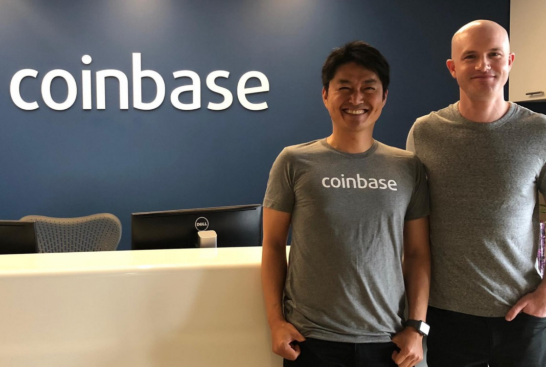Nao Kitazawa, CEO of Coinbase Japan, left, and Brian Armstrong, CEO of Coinbase, right