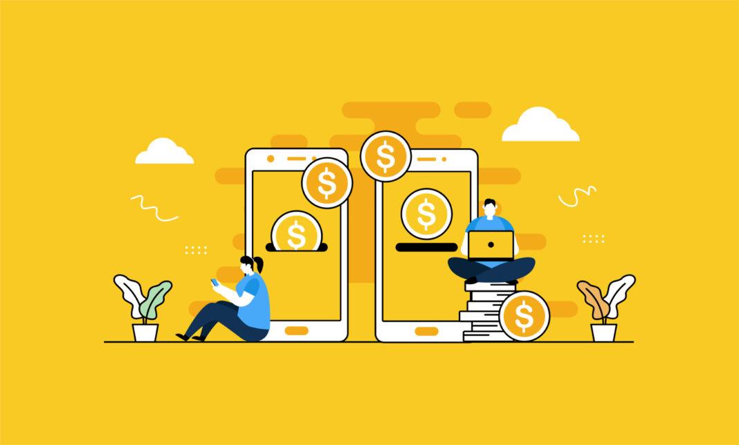 Mobile payment system illustration