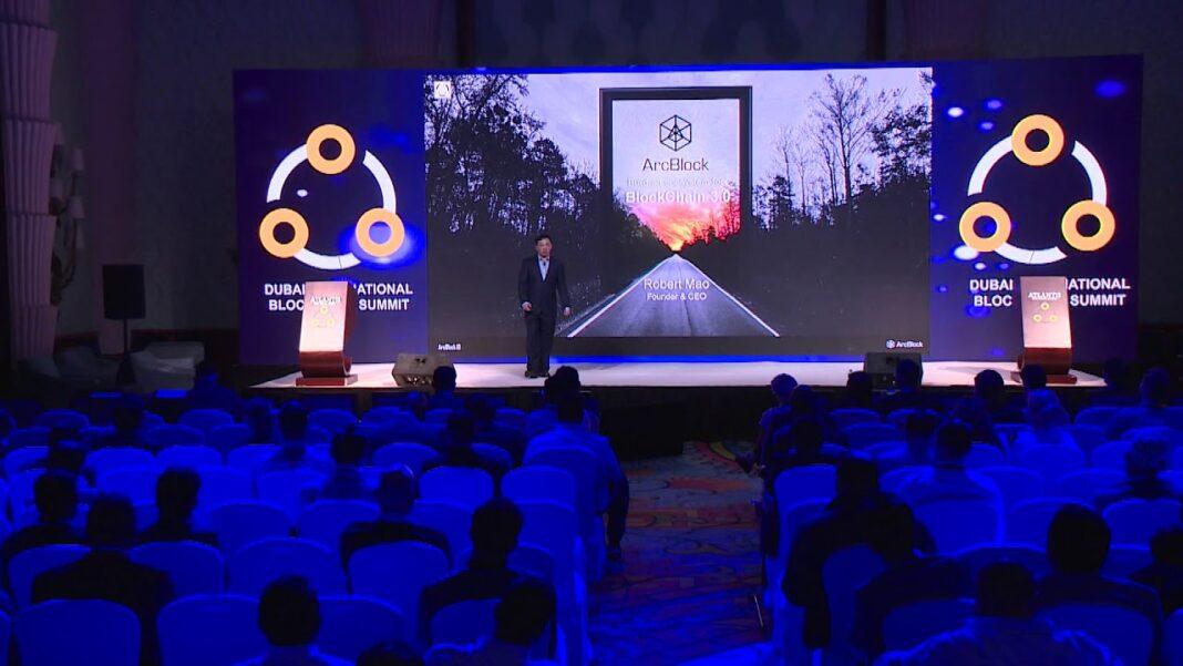 ArcBlock CEO and founder Robert Mao at the Dubai International Blockchain Summit on 8 Jan 2018