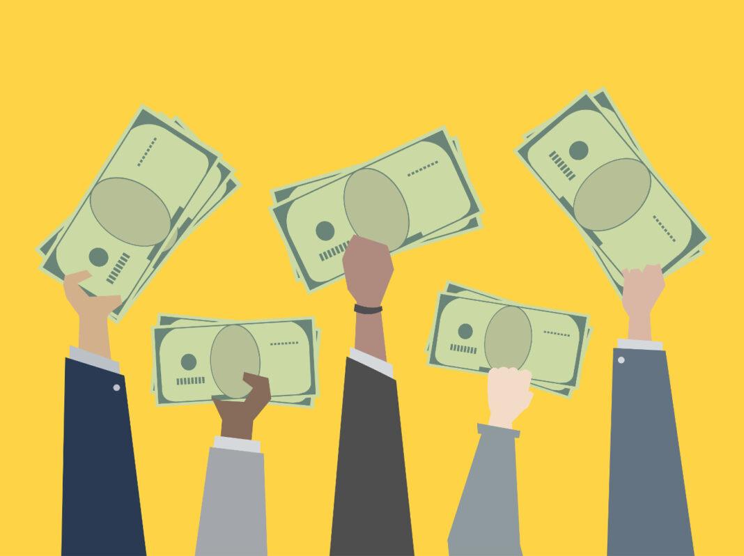 People holding money on yellow background