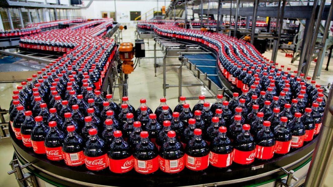 A Coca-Cola manufacturing line