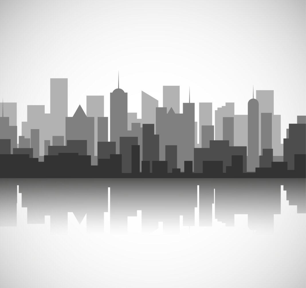 Black and white city skyline concept