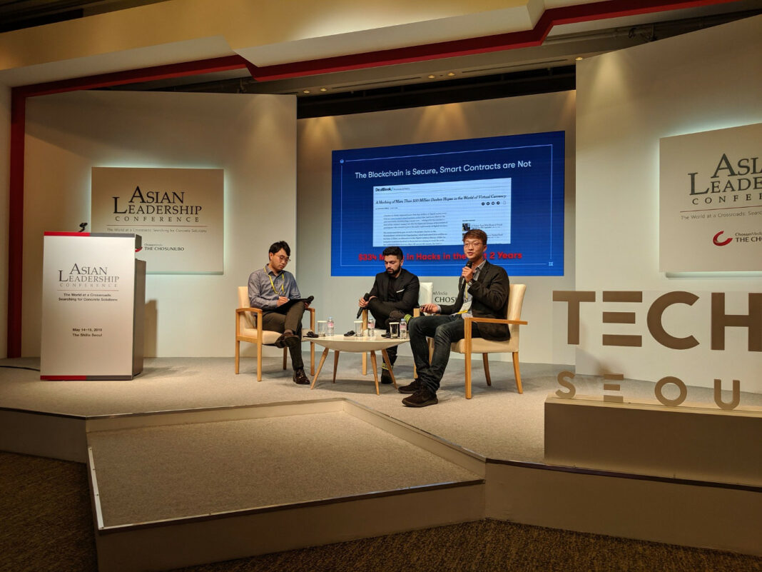 Quantstamp CEO Richard Ma talking about blockchain mass adoption at the Asian Leadership Conference, along with Everipedia and Hashed