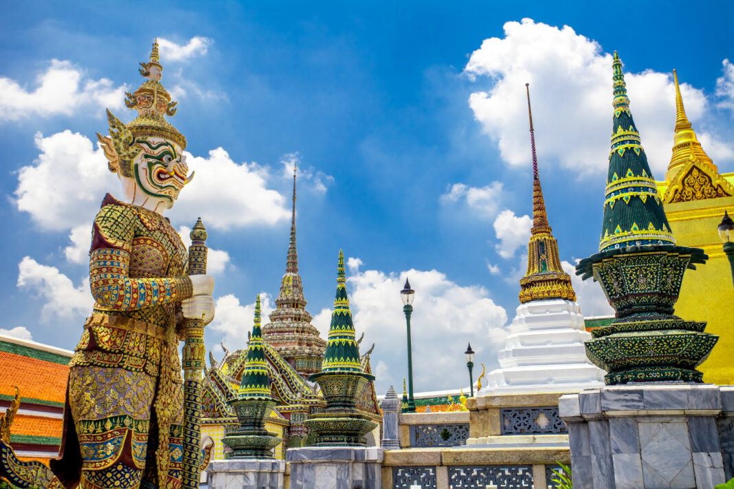 Wat Phra Kaew, also known as the Temple of the Emerald Buddha, and officially known as Wat Phra Si Rattana Satsadaram, residing in Bangkok, Thailand