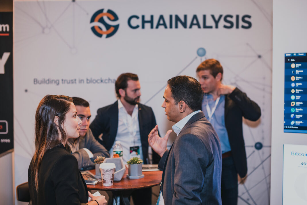 Chainalysis booth at a conference