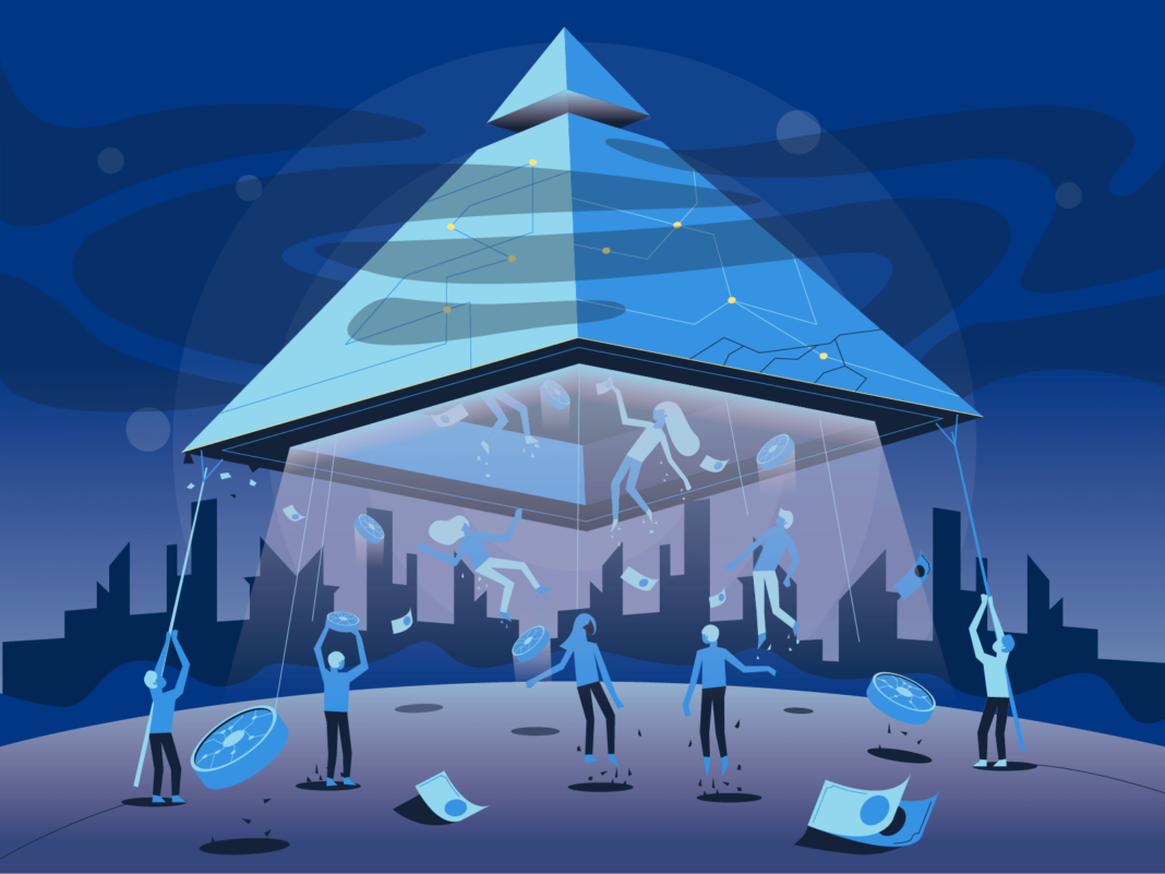 Pyramid scheme illustration