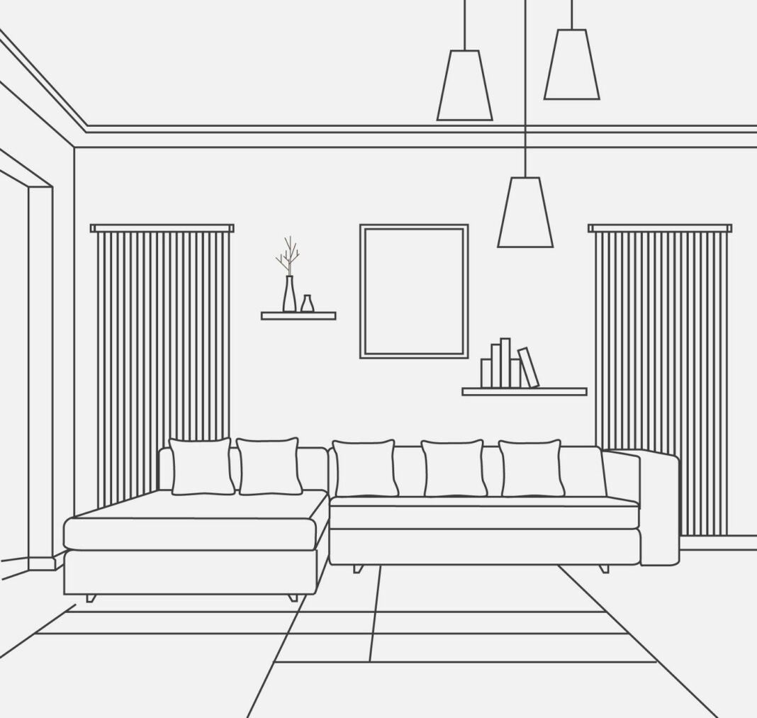 Illustration of living room interior design