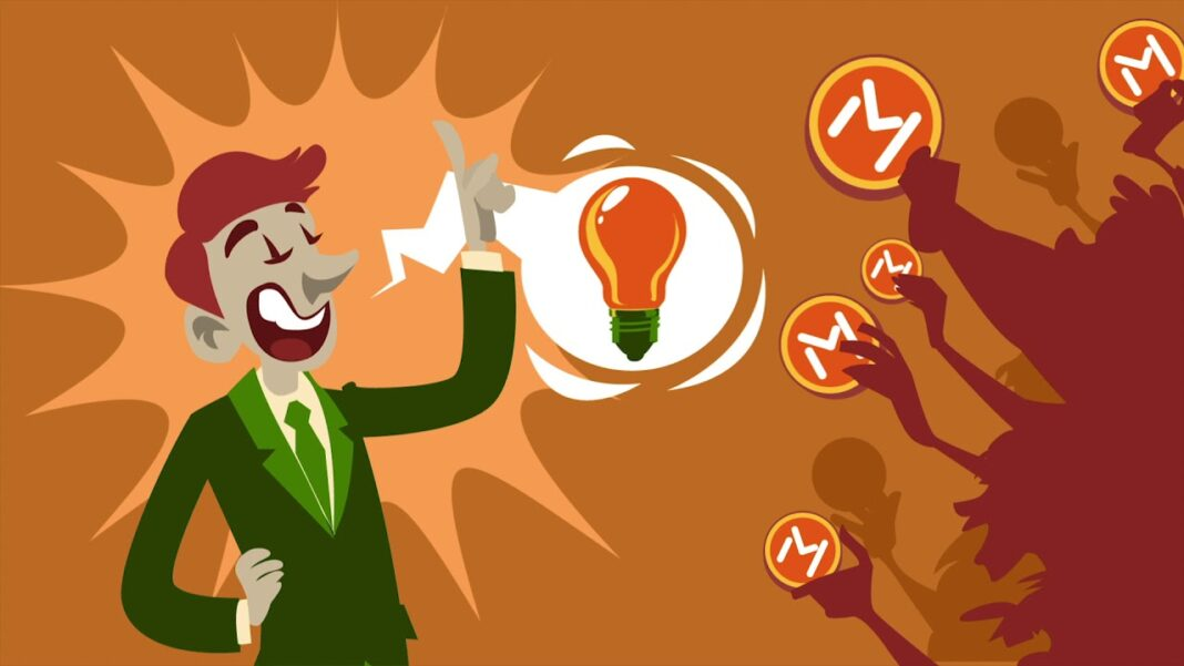 Illustration of a savvy businessman selling an idea to a crowd of people holding BIP tokens