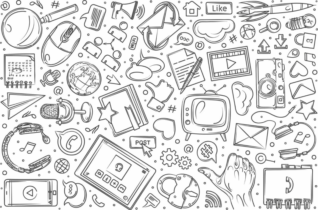 Hand drawn social media and blogging icons