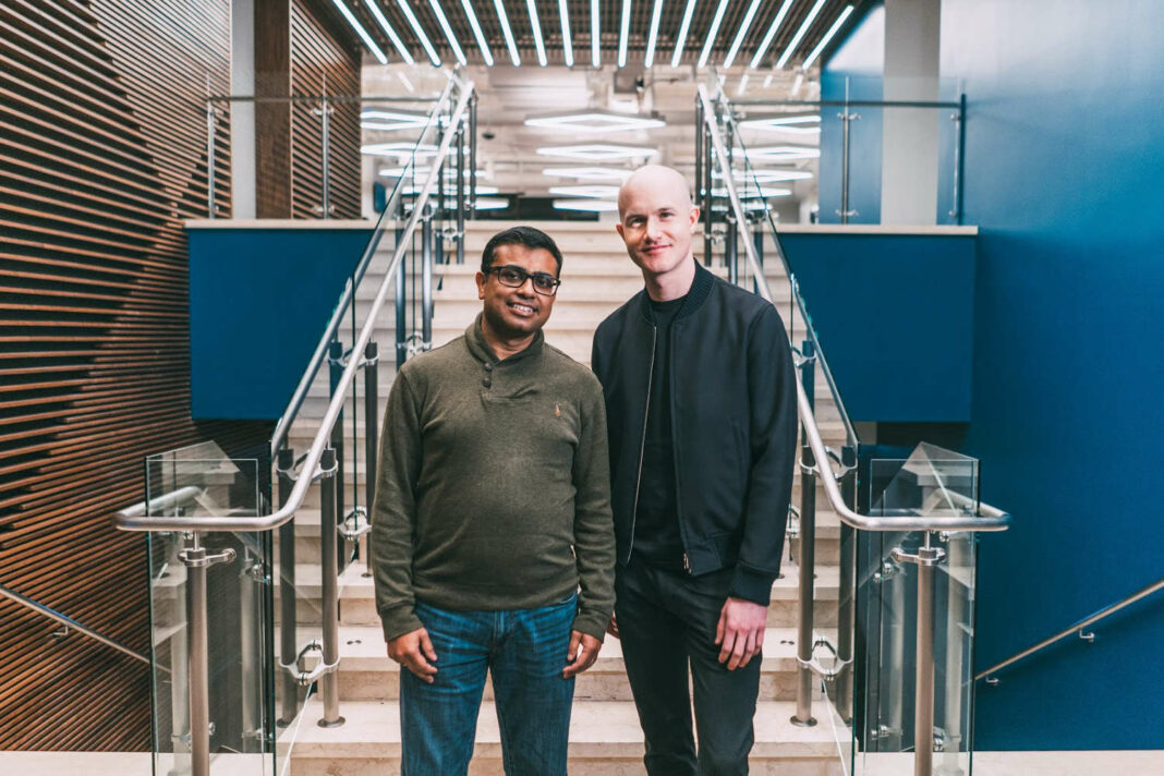New Coinbase chief product officer, Surojit Chatterjee, alongside Coinbase CEO Brian Armstrong