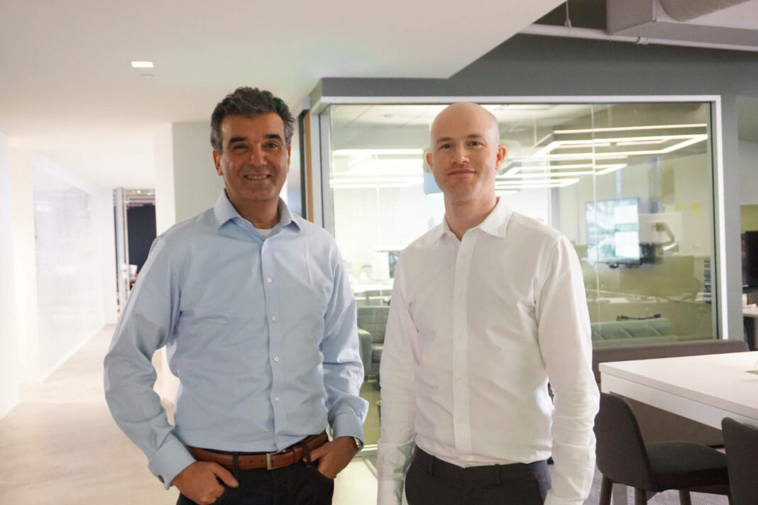Former Coinbase president and COO and new President of Figure, Asiff Hirji, alongside Coinbase CEO Brian Armstrong