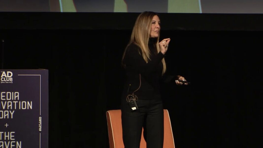 Avocados From Mexico Head of digital marketing Ivonne Kinser speaking at Media Innovation Day in 2018