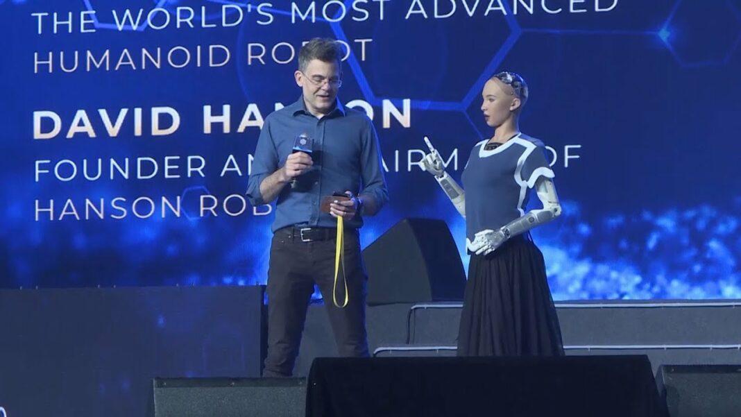 David Hanson, founder of Hanson Robotics, conversing with Sophia, an advanced AI humanoid robot