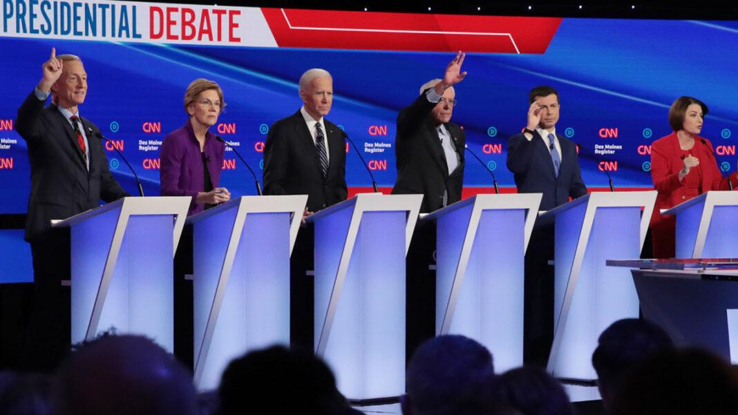 From left: Tom Steyer, Elizabeth Warren, Joe Biden, Bernie Sanders, Pete Buttigieg, Amy Klobuchar