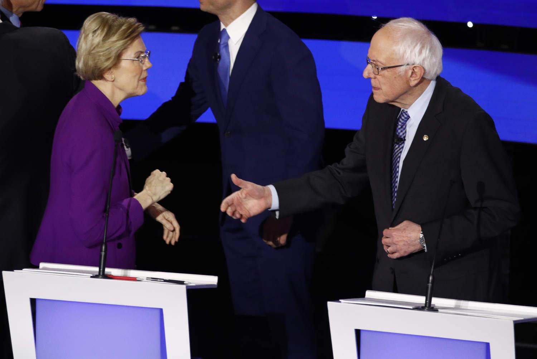 Democratic presidential candidate Sen. Elizabeth Warren, D-Mass., left and Sen. Bernie Sanders