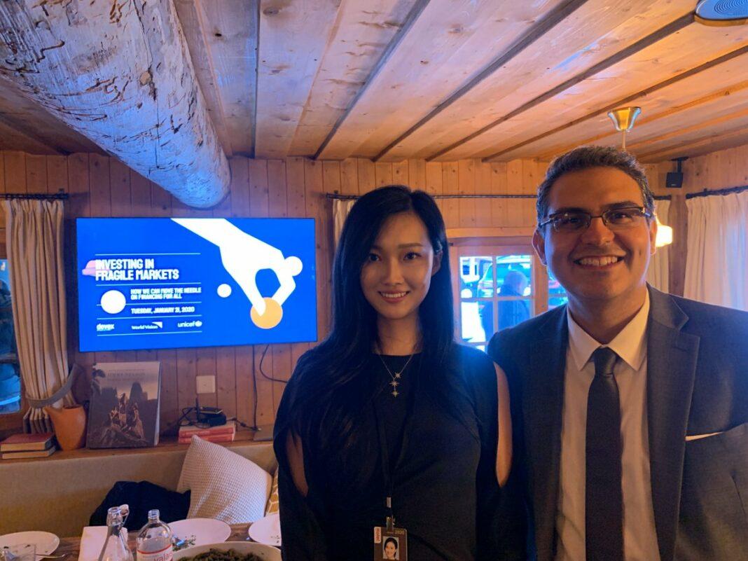 Huobi Group vice president of global business Ciara Sun and executive advisors on fragile states at World Vision Jonathan Papoulidis