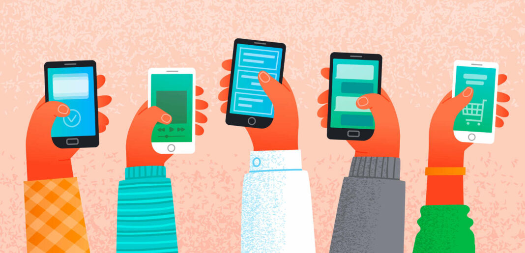 Photo illustration of hands holding smartphones to conceptualize work and communication on the Internet