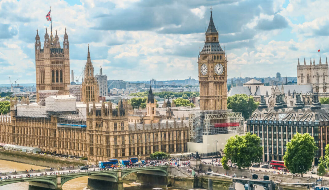 High view of the Houses of Parliament, Big Ben, and Westminster Palace in London