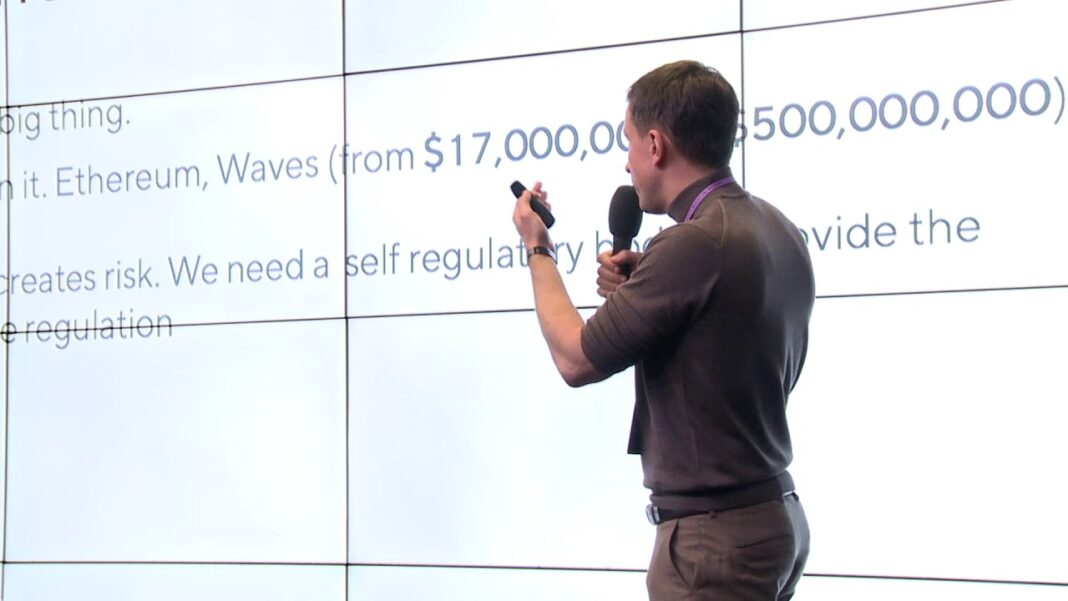 Alexander Ivanov, founder of Waves, speaking at the Genesis Moscow Conference