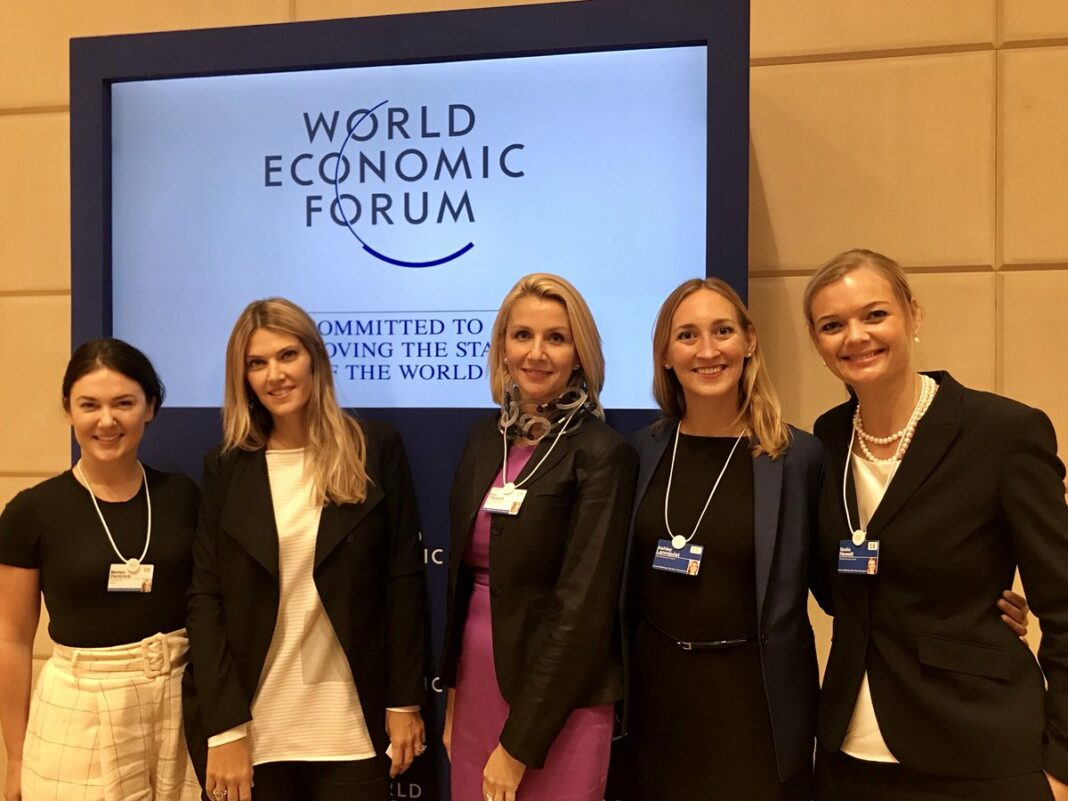 Nadia Hewett (first from right) alongside Ashley Lannquist, Ana Trbovich, Eva Kaili, and Meltem Demirors at the WEF's Annual Meeting of the New Champions in Tianjin, China, on September 18, 2018