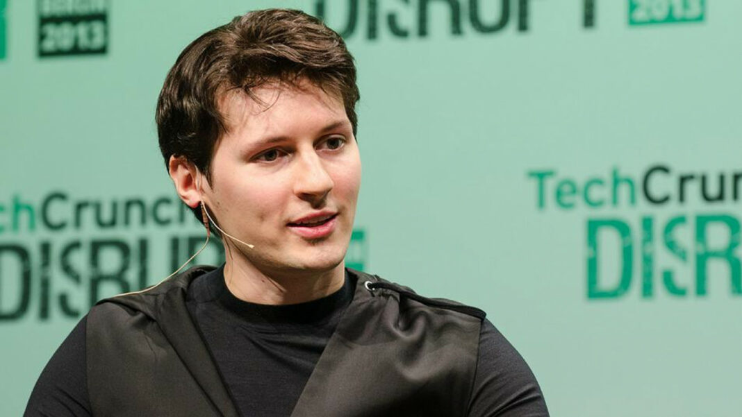 Telegram founder Pavel Durov being interviewed at TechCrunch's Disrupt conference in San Francisco, USA, in 2018