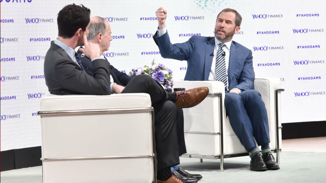 Ripple CEO Brad Garlinghouse speaking at a Yahoo! Finance conference
