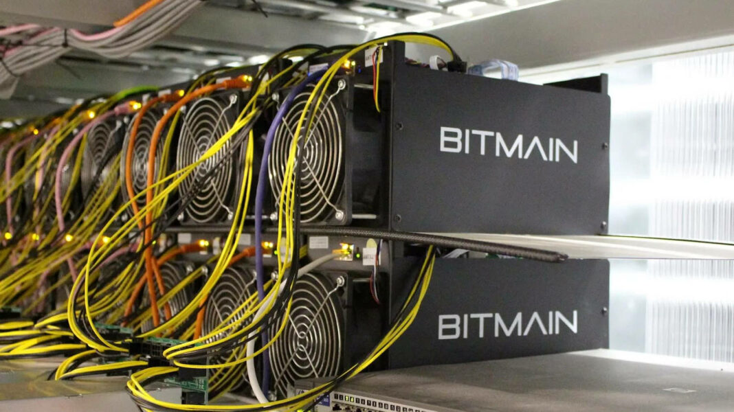 Bitmain equipment captured at a Bitcoin mining farm in Iceland