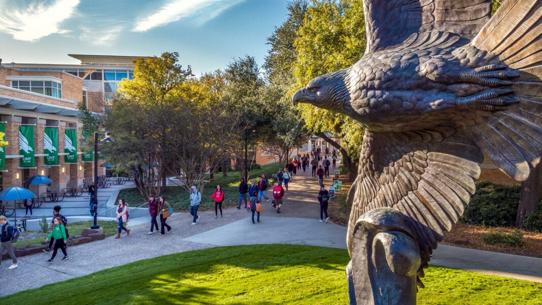 The famous soaring eagle statue at the University of North Texas