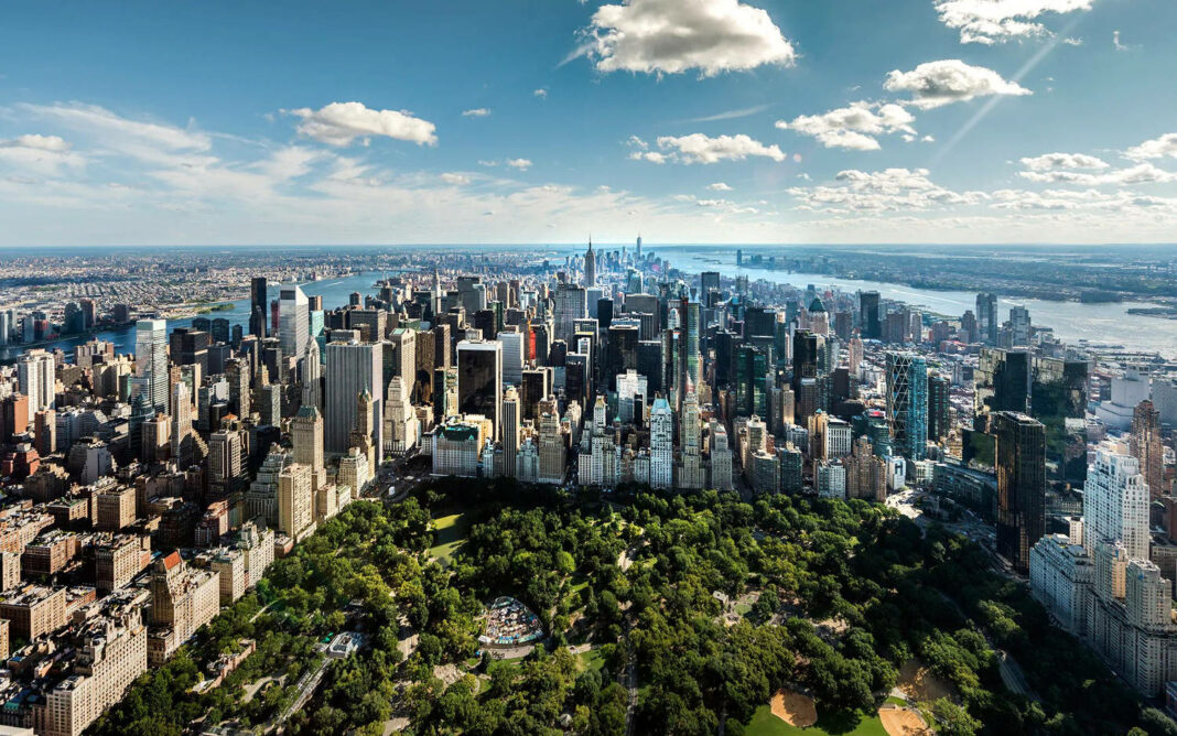 Bird's eye view of Central Park in New York City