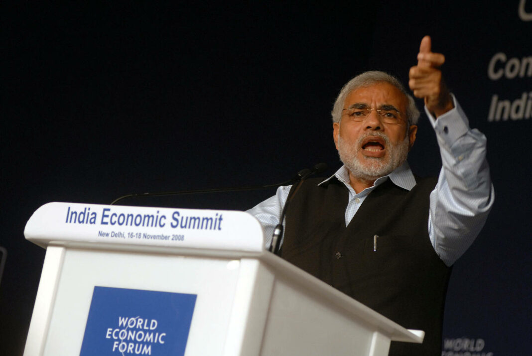 Narendra Modi, then Chief Minister of Gujarat, India, now Prime Minister of the country
