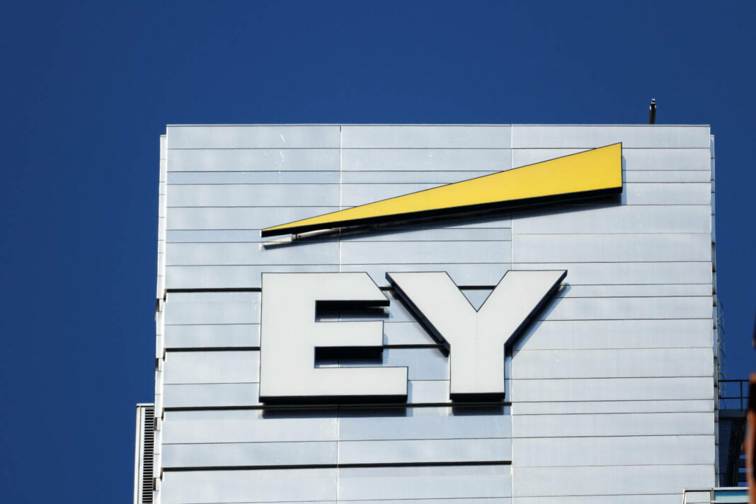 View on Ernst & Young logo on their headquarters building