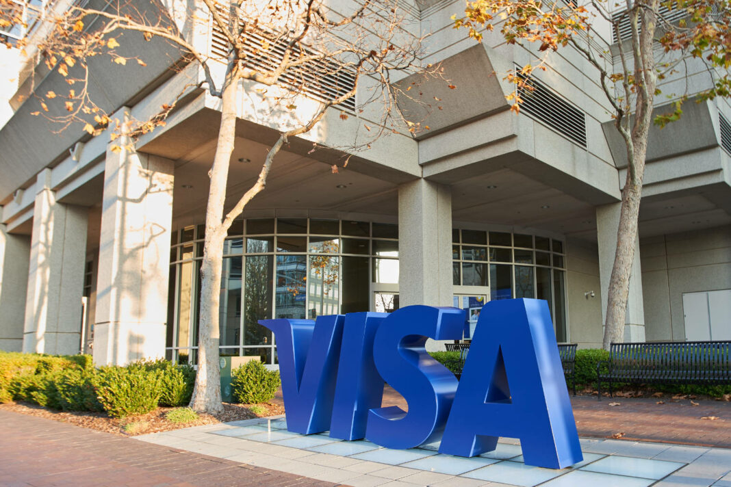 VISA logo at the company's headquarters in Foster City, California