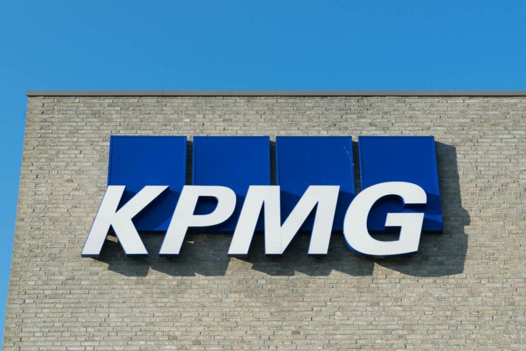 KPMG logo on a company office building in Aarhus, Denmark