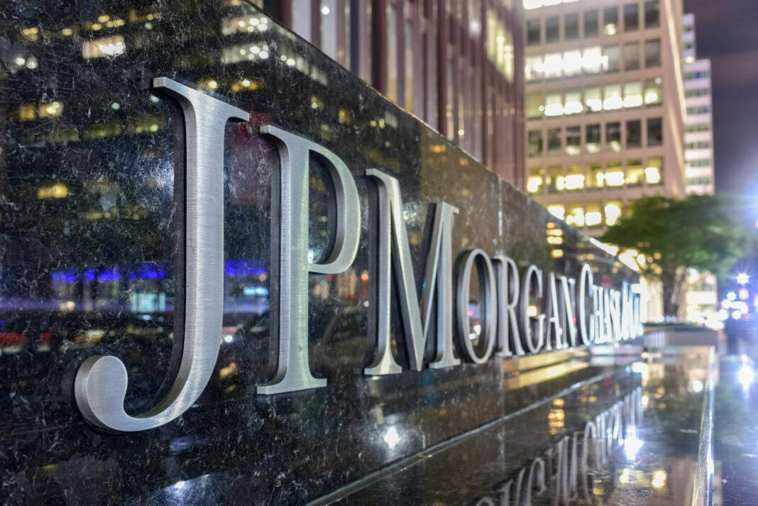 The corporate sign in front of the JP Morgan Chase & Co office building