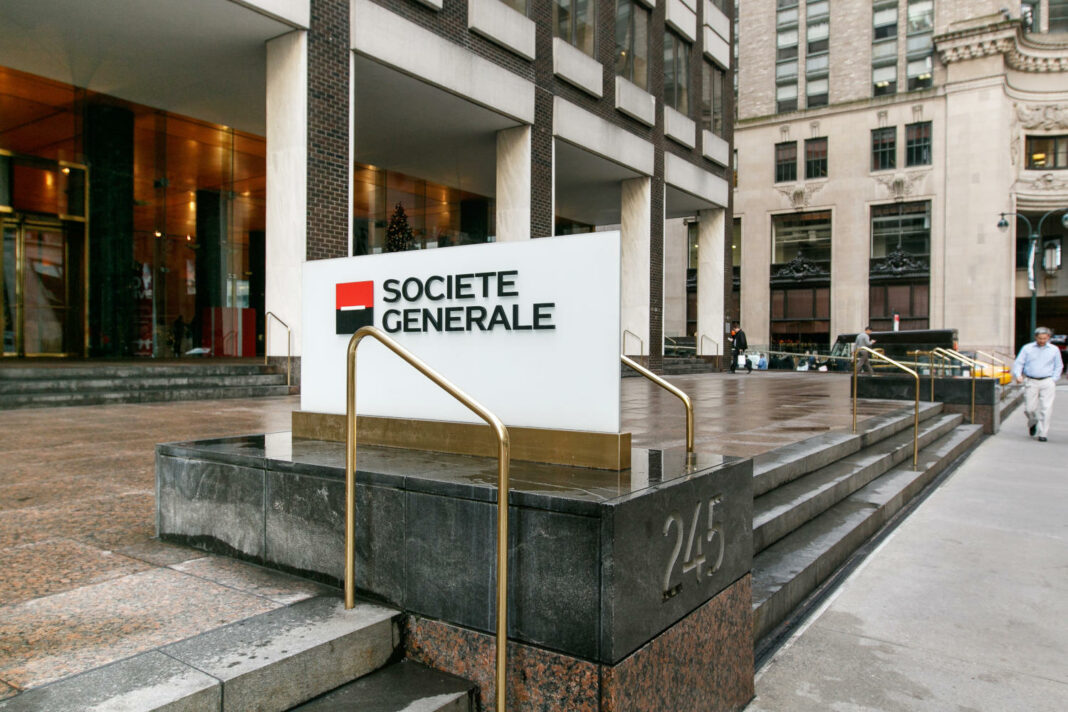 Societe Generale corporate signage by their office in midtown Manhattan in New York