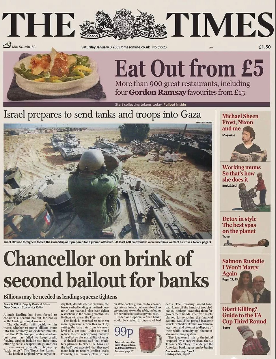 "The Times newspaper front page from January 3, 2009, showing the now-legendary ""Chancellor on brink of second bailout for banks"" article."