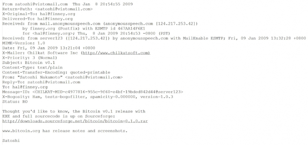 Screenshot of an email from Satoshi Nakamoto to Hal Finney