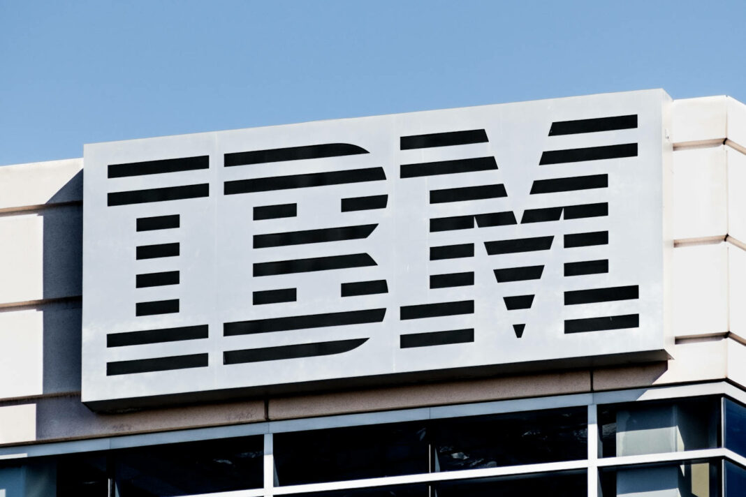 Close up of IBM sign at their headquarters located in Silicon Valley