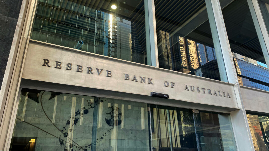 Signage outside the entrance of the Reserve Bank of Australia building in Sydney