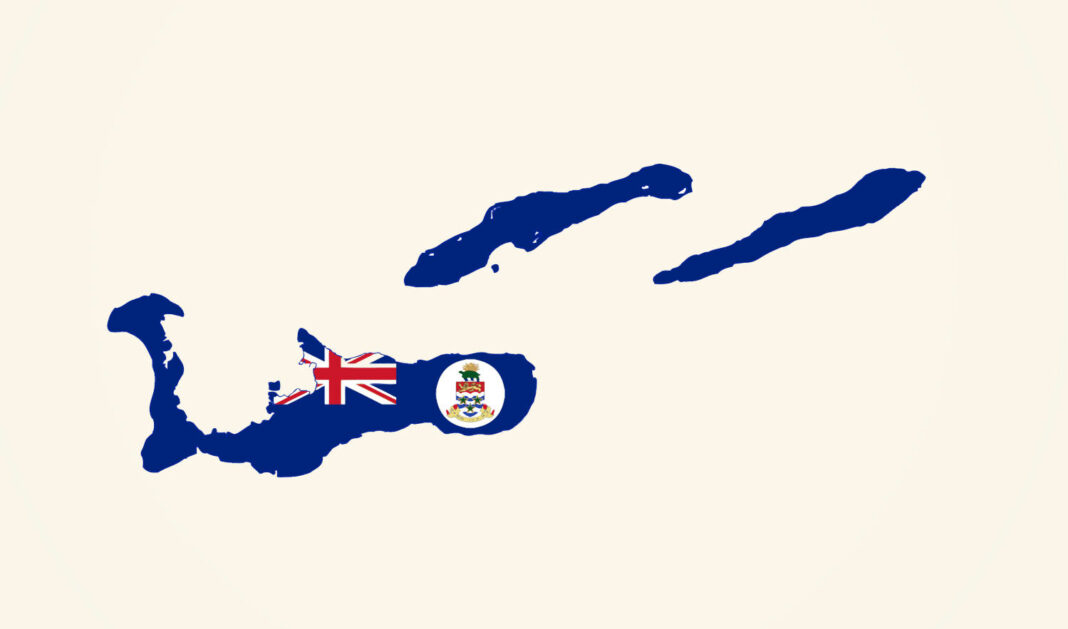 Map of Cayman Islands in Cayman Islands flag colors